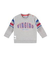 Vingino sweater met tekst grijs melange, Grijs melange