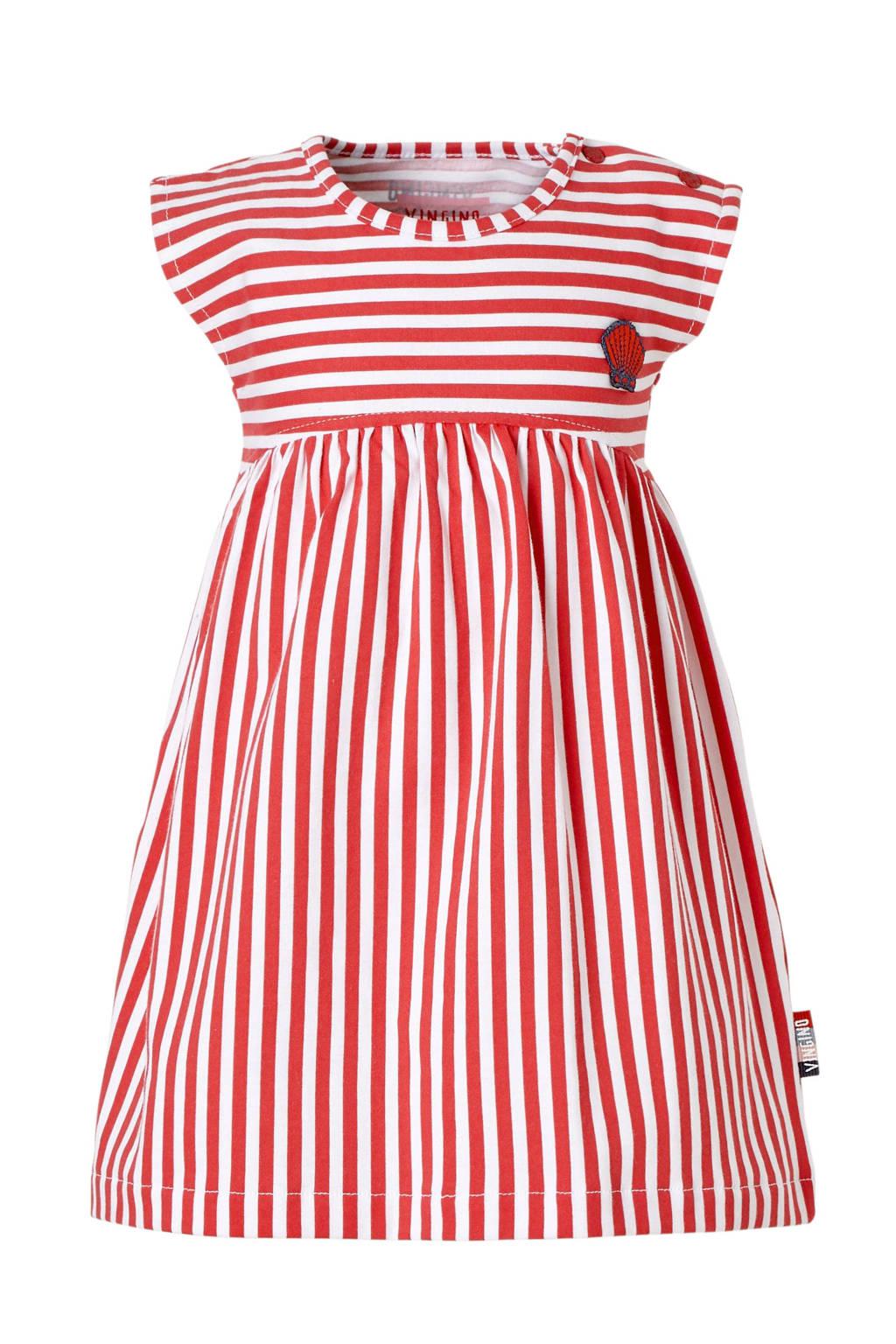 Vingino gestreepte jurk Pelia rood/wit, Rood/wit