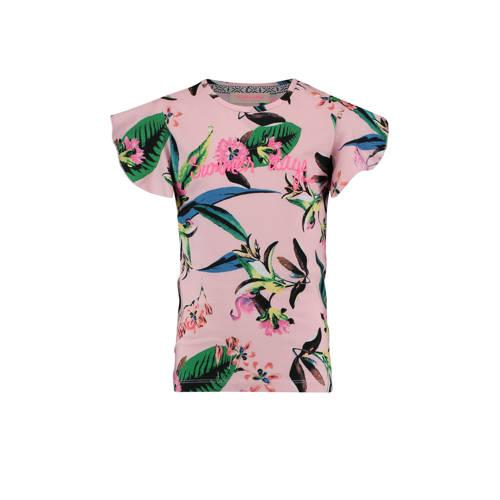 Vingino T-shirt Hanan met bladprint roze kopen