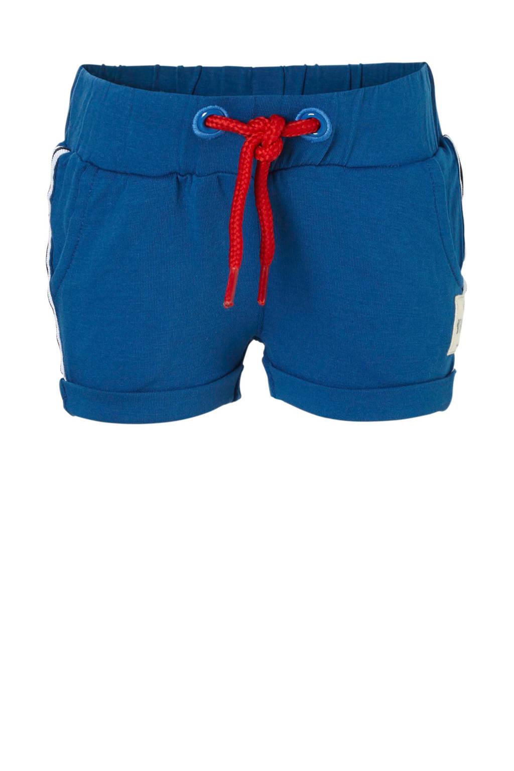Vingino sweatshort Seppe met zijstreep blauw, Blauw
