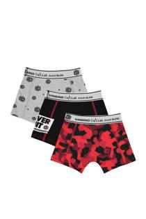 Vingino   boxershort - set van 3 Daley Blind rood/zwart (jongens)