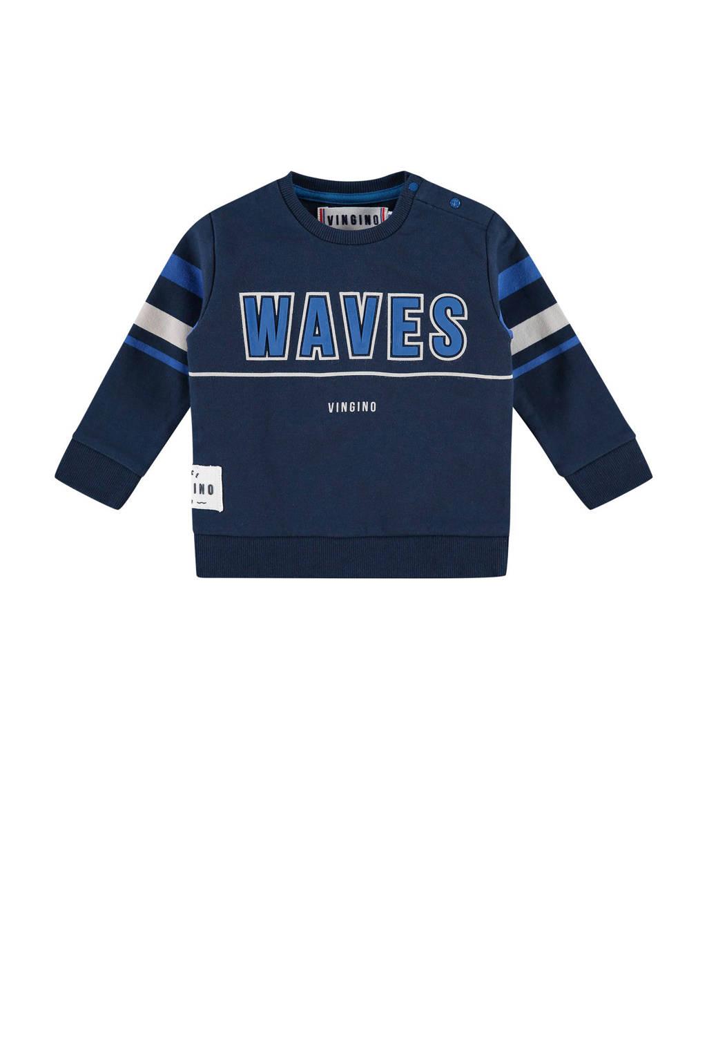 Vingino sweater met tekst Neil donkerblauw, Donkerblauw