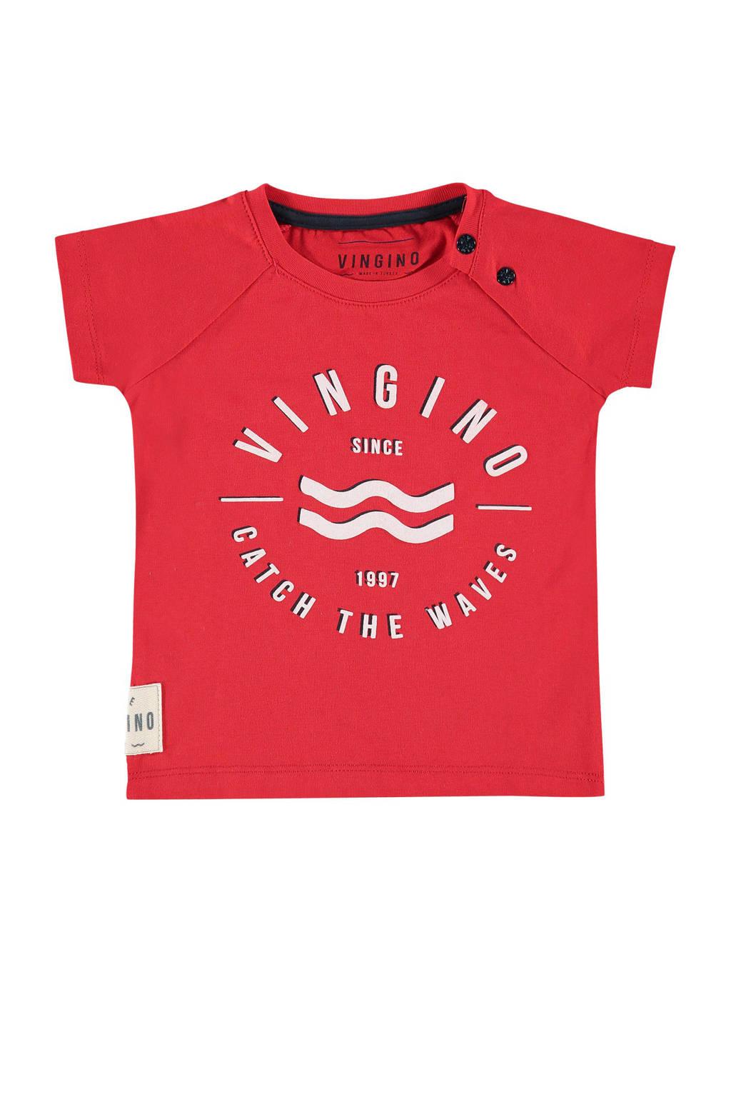 Vingino T-shirt Huck met logo rood, Rood