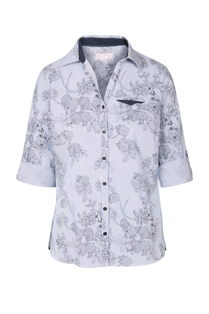 gestreepte bloemenprint blouse marine Cassis met zf4XfT