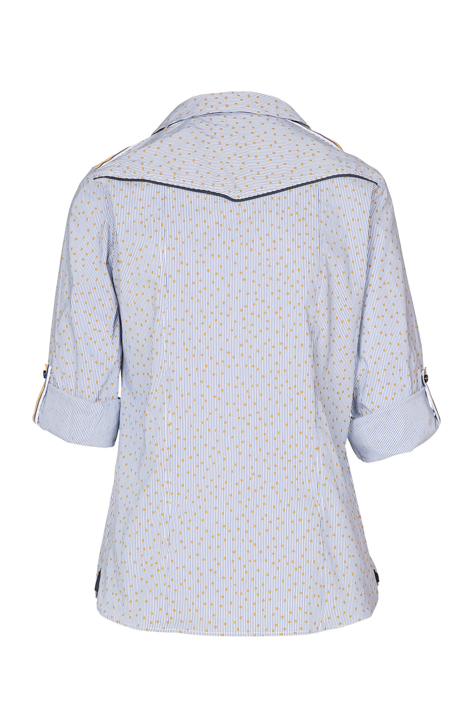 Cassis blauw blouse geel Cassis blouse blauw 0qvw6PH