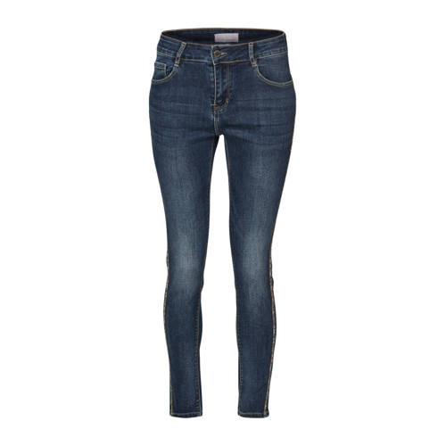 Cassis slim fit jeans met zijstreep van pailletten