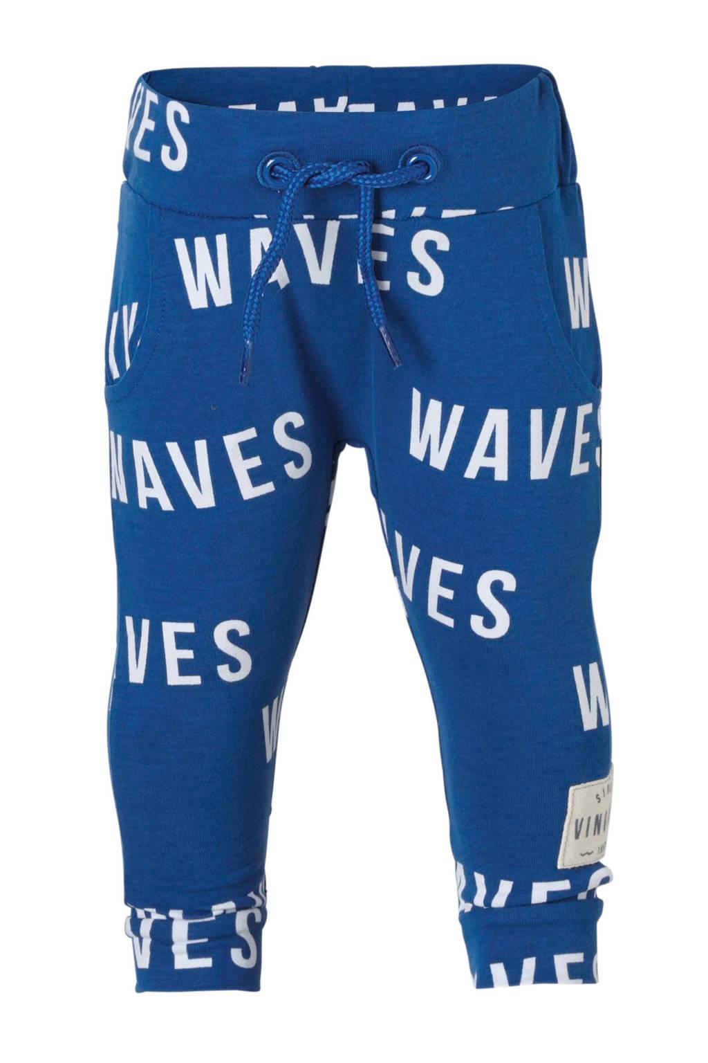 Vingino broek met allover print Sjaco blauw, Blauw/wit