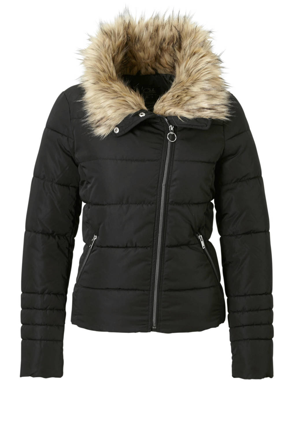 C&A Clockhouse jas met bontkraag zwart, Zwart