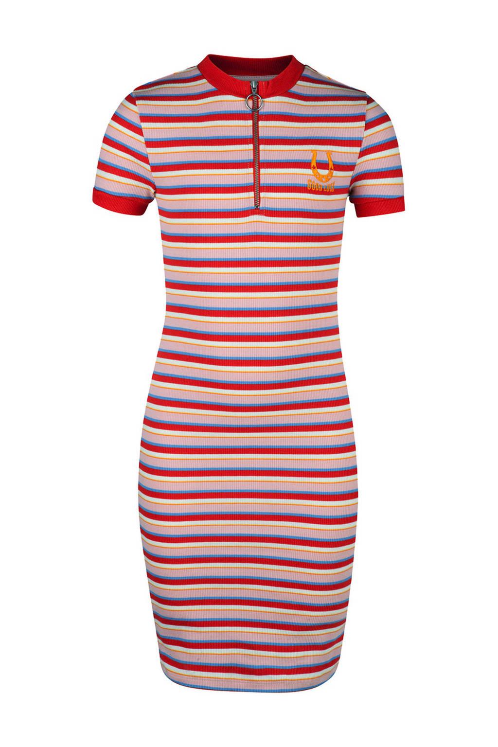 WE Fashion gestreepte jurk rood, Rood/roze