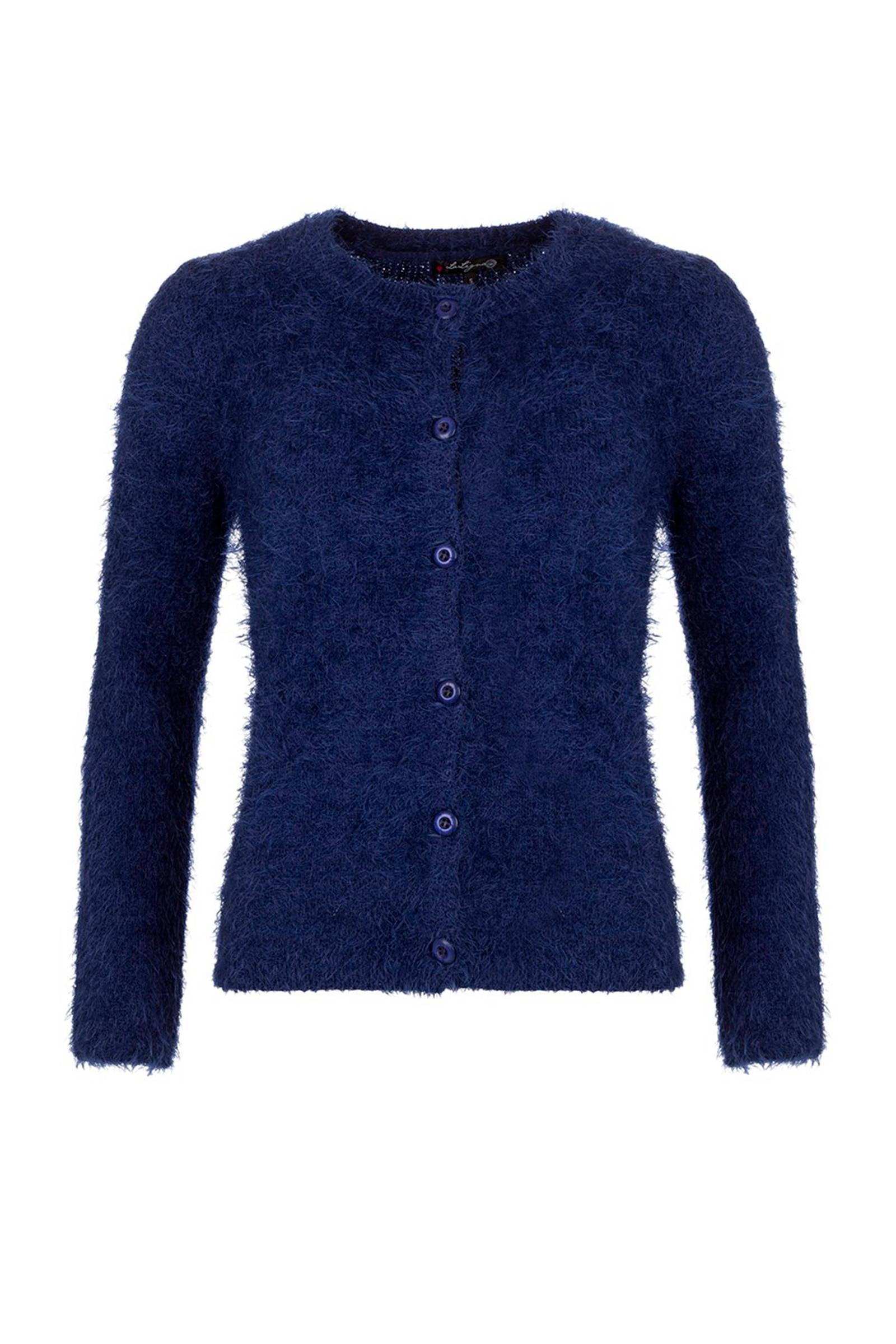donkerblauw fluffy vest