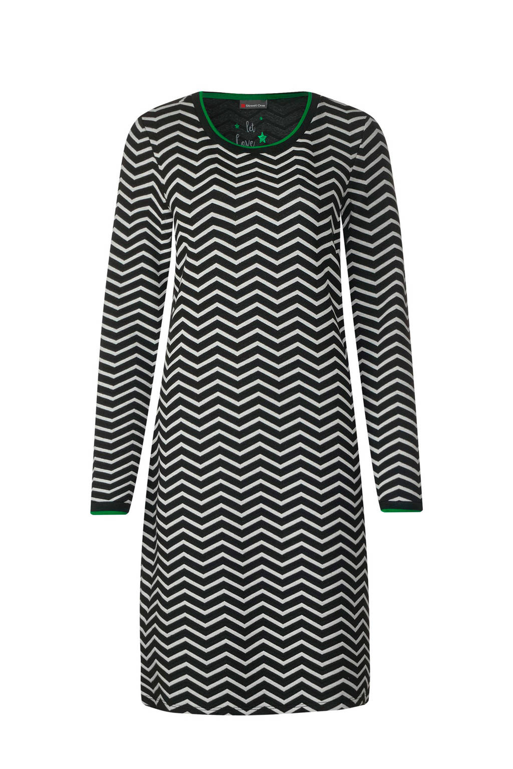 Street One jurk met all over print, Zwart/wit/groen