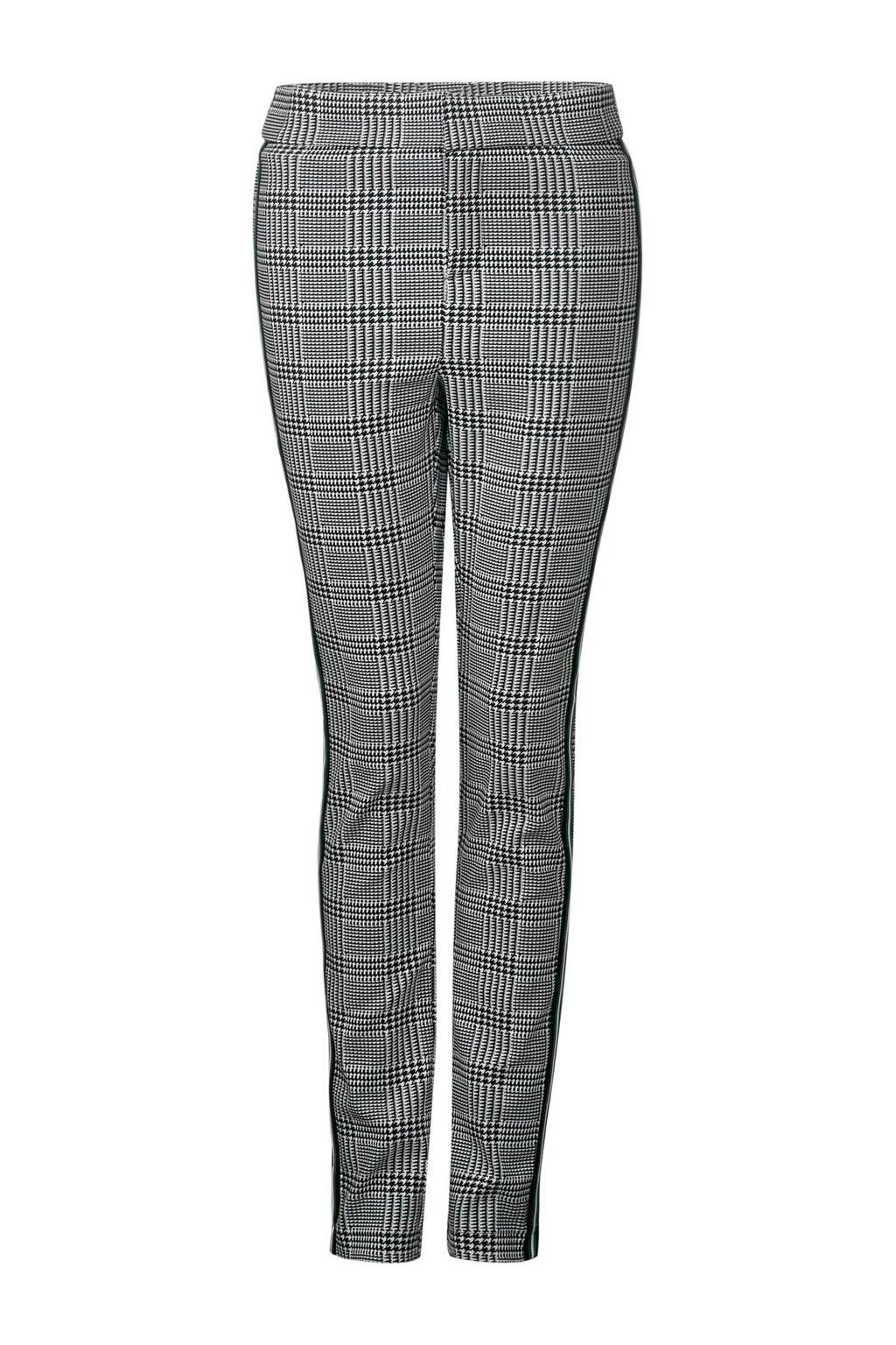 Street One high waist skinny fit broek Hope met ruitprint, Zwart/wit