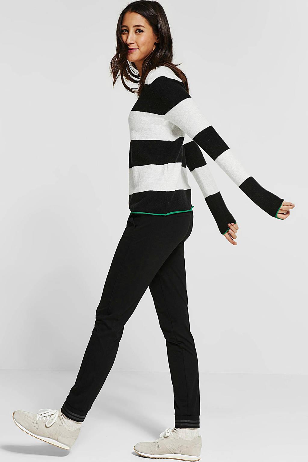 Street One gebreide trui met strepen, Zwart/wit/groen