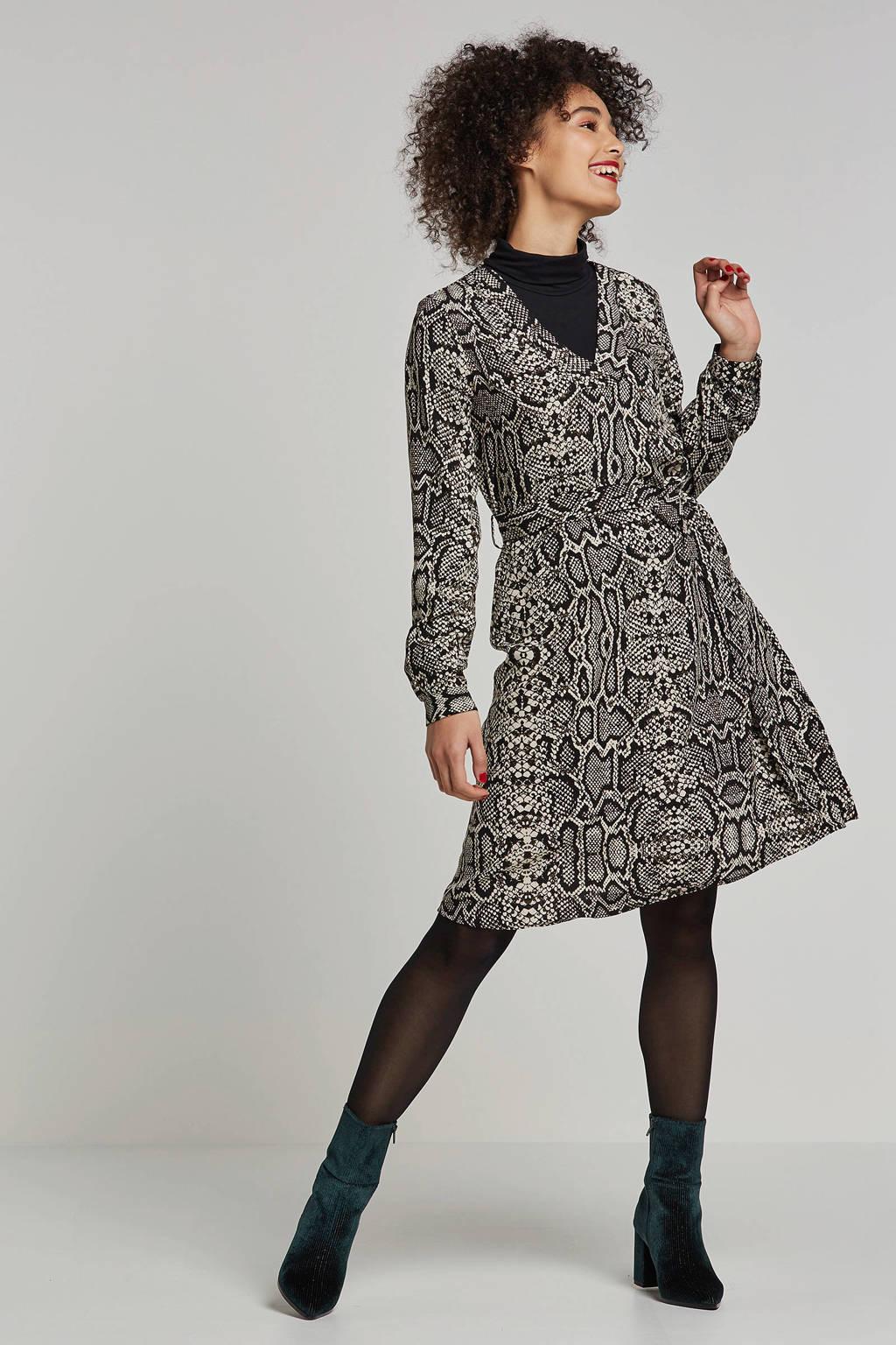 OBJECT jurk met slangen print, Zwart/wit/groen
