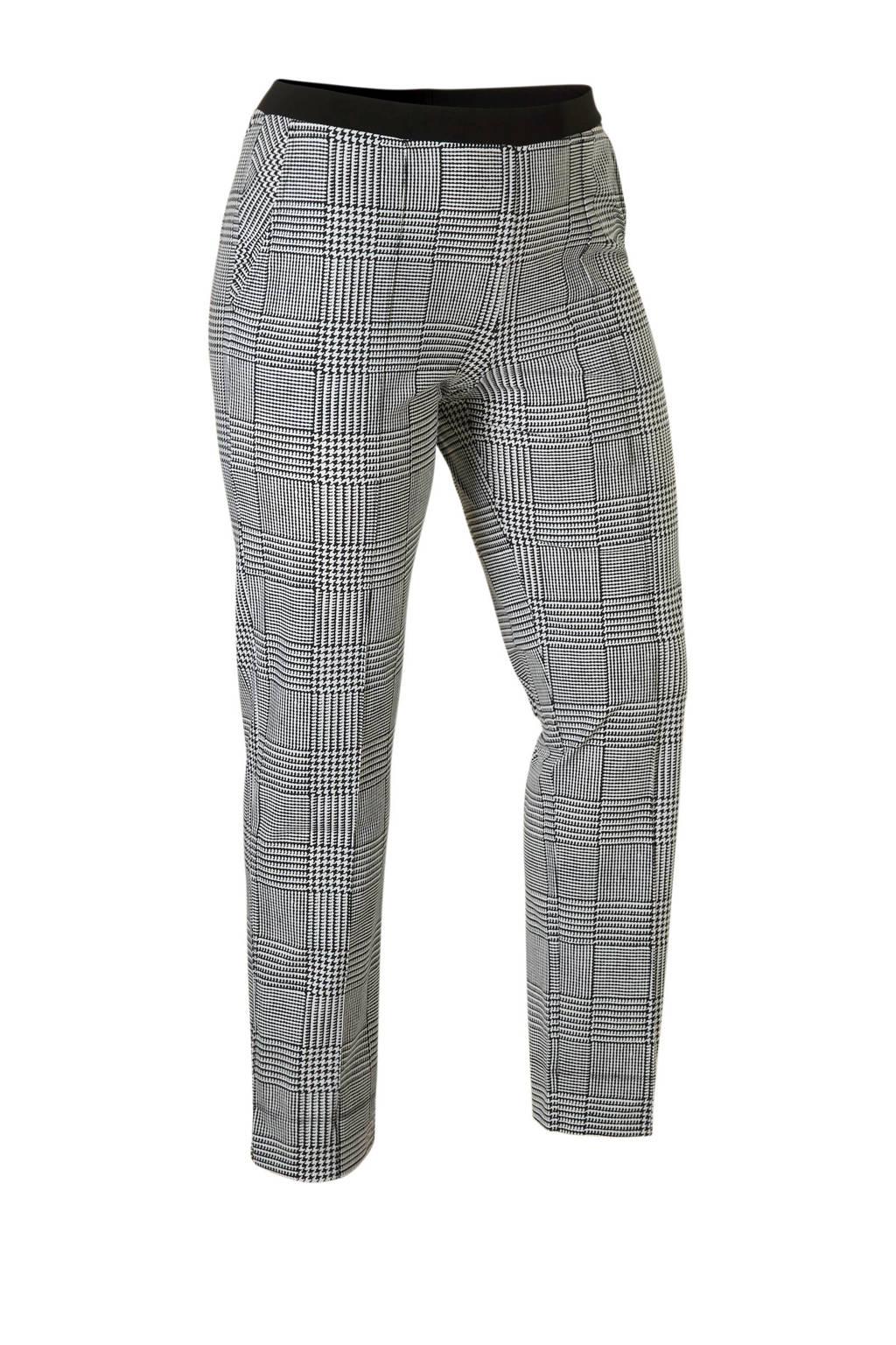 Plus Basics broek van travelstof, Zwart/wit