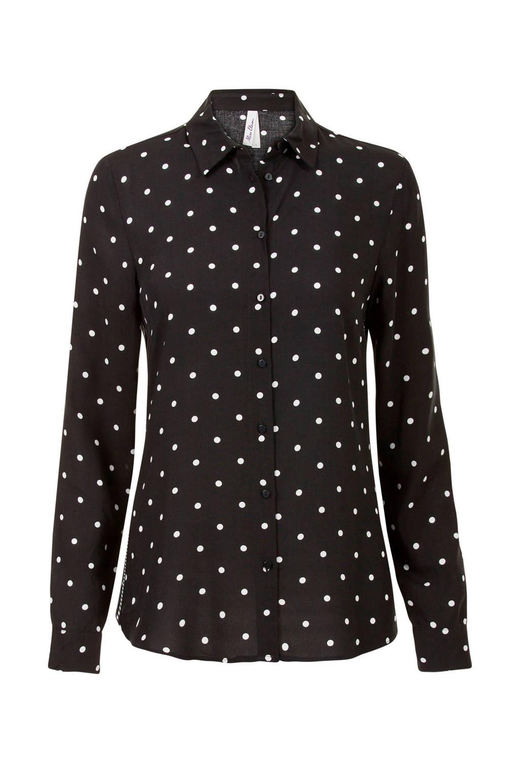 Miss Etam Lang blouse met stippenprint zwart, Zwart