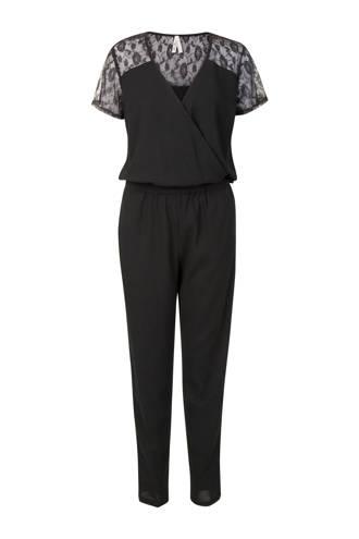 Regulier jumpsuit met kantdetail zwart