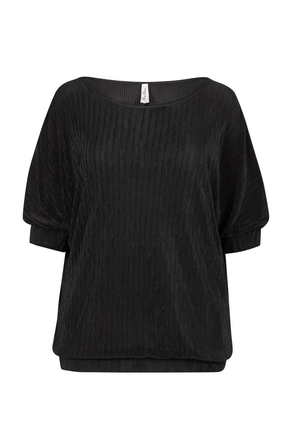 Miss Etam Plus top met rib afwerking zwart, Zwart