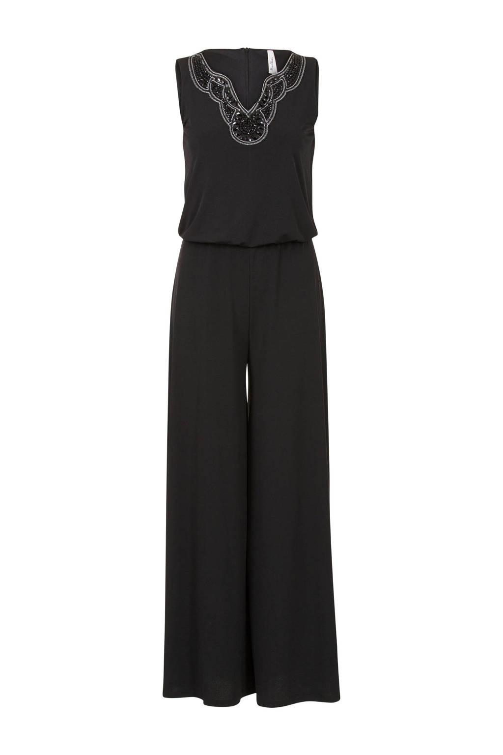 Miss Etam Regulier jumpsuit met kraaltjes zwart, Zwart
