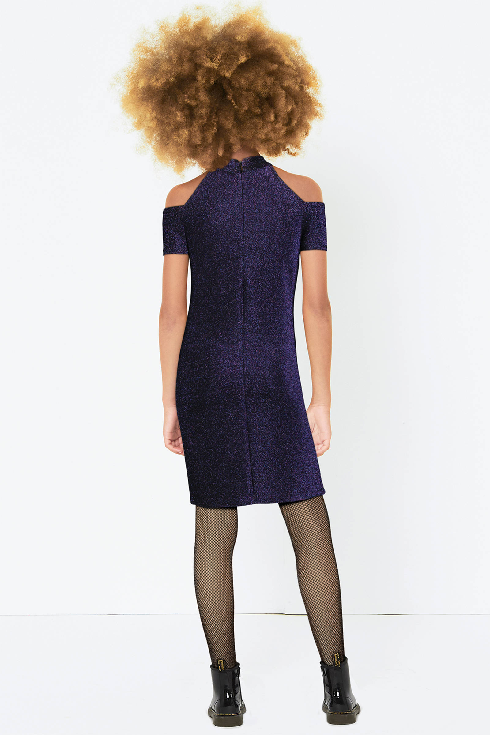 881dfd52eee37a CoolCat open shoulder glitter jurk paars