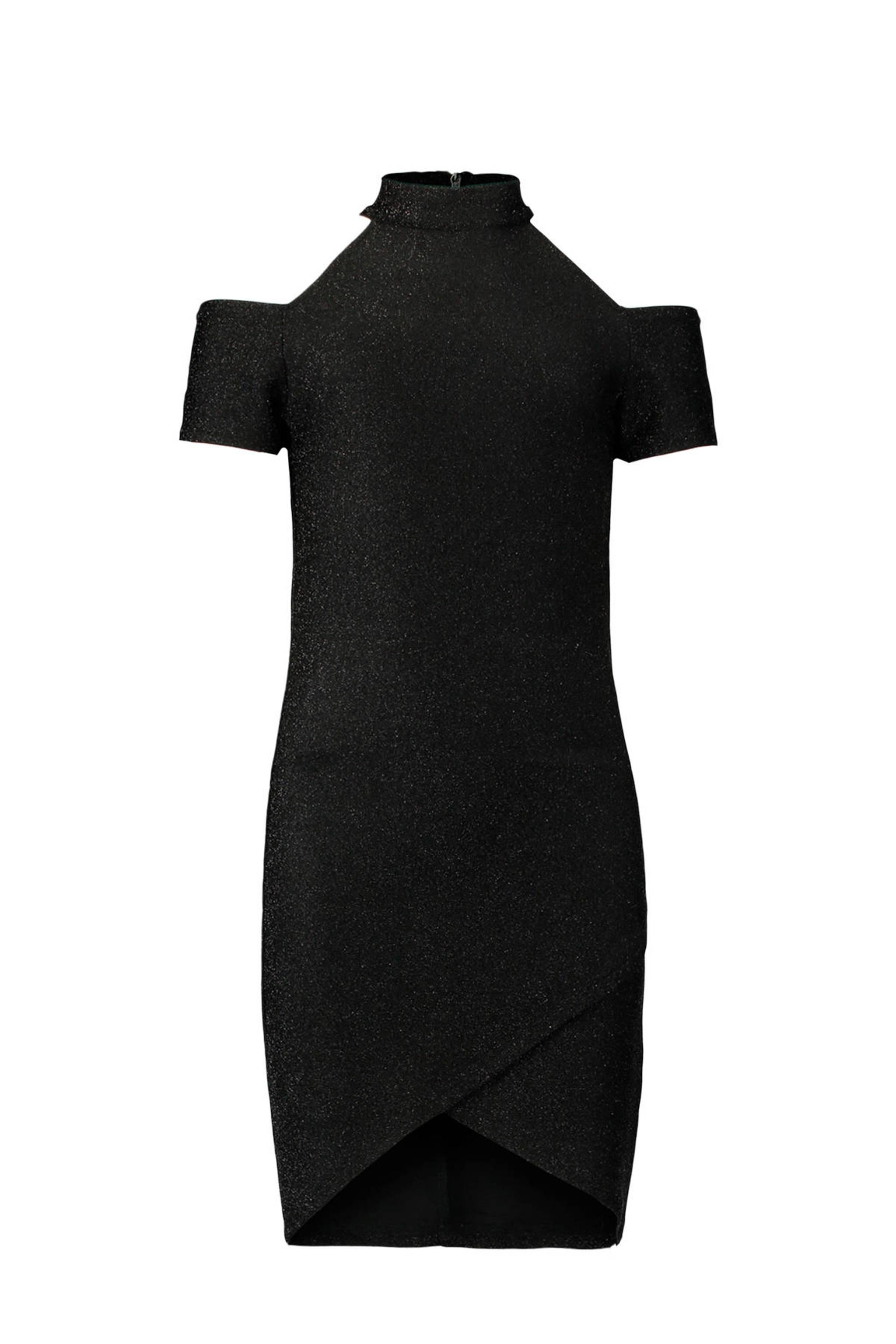 25ed29b259bf8a CoolCat open shoulder glitter jurk zwart