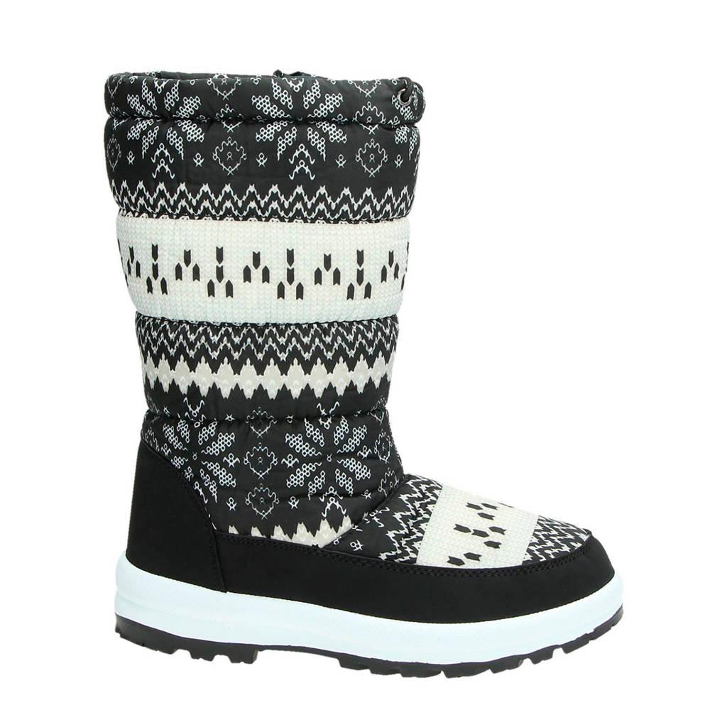 Snow Fun   snowboots me tprint zwart/wit, Zwart/wit