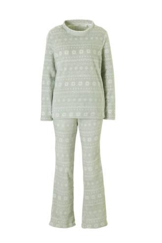 fleece badjas met all over print grijs