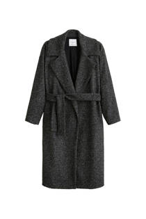 Mango coat met wol donkergrijs (dames)