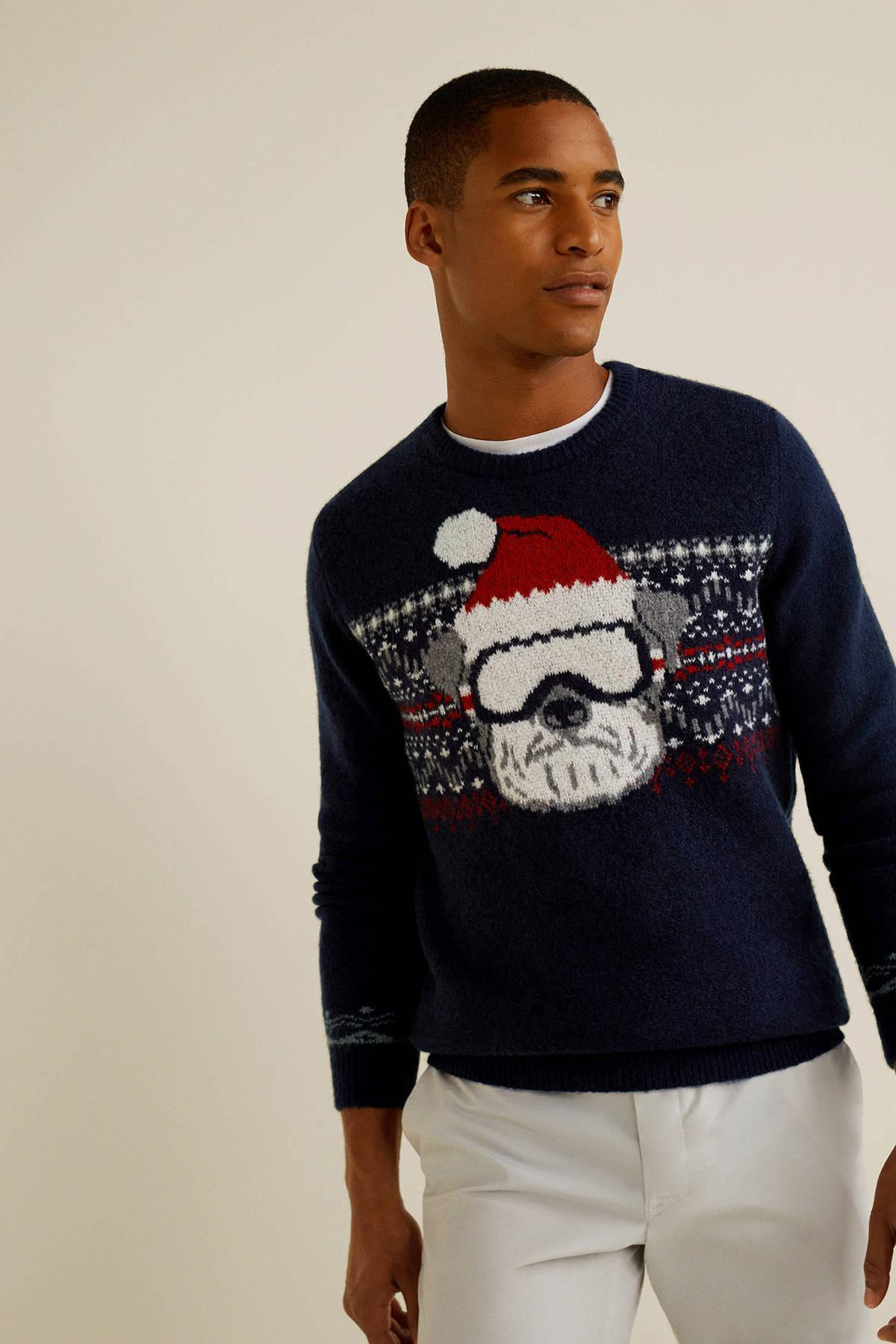 Kersttrui Man.Mango Man Kersttrui Met Wol Marine Wehkamp