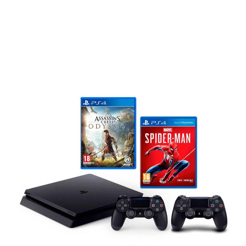 Sony PlayStation 4 Slim 1TB zwart + 2 controllers + Marvel's Spider-Man + Assassin's Creed: Odyssey, Zwart