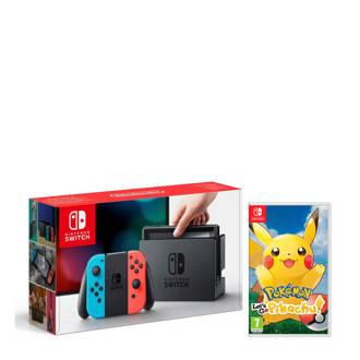Switch blauw/rood + Pokémon: Let's Go, Pikachu!