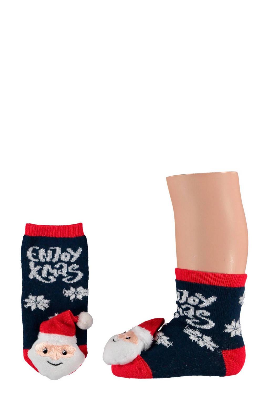 Apollo baby kerst sokken (2 paar) zwart, Zwart/rood