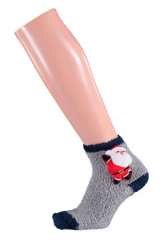 kids 3D kerst sokken grijs