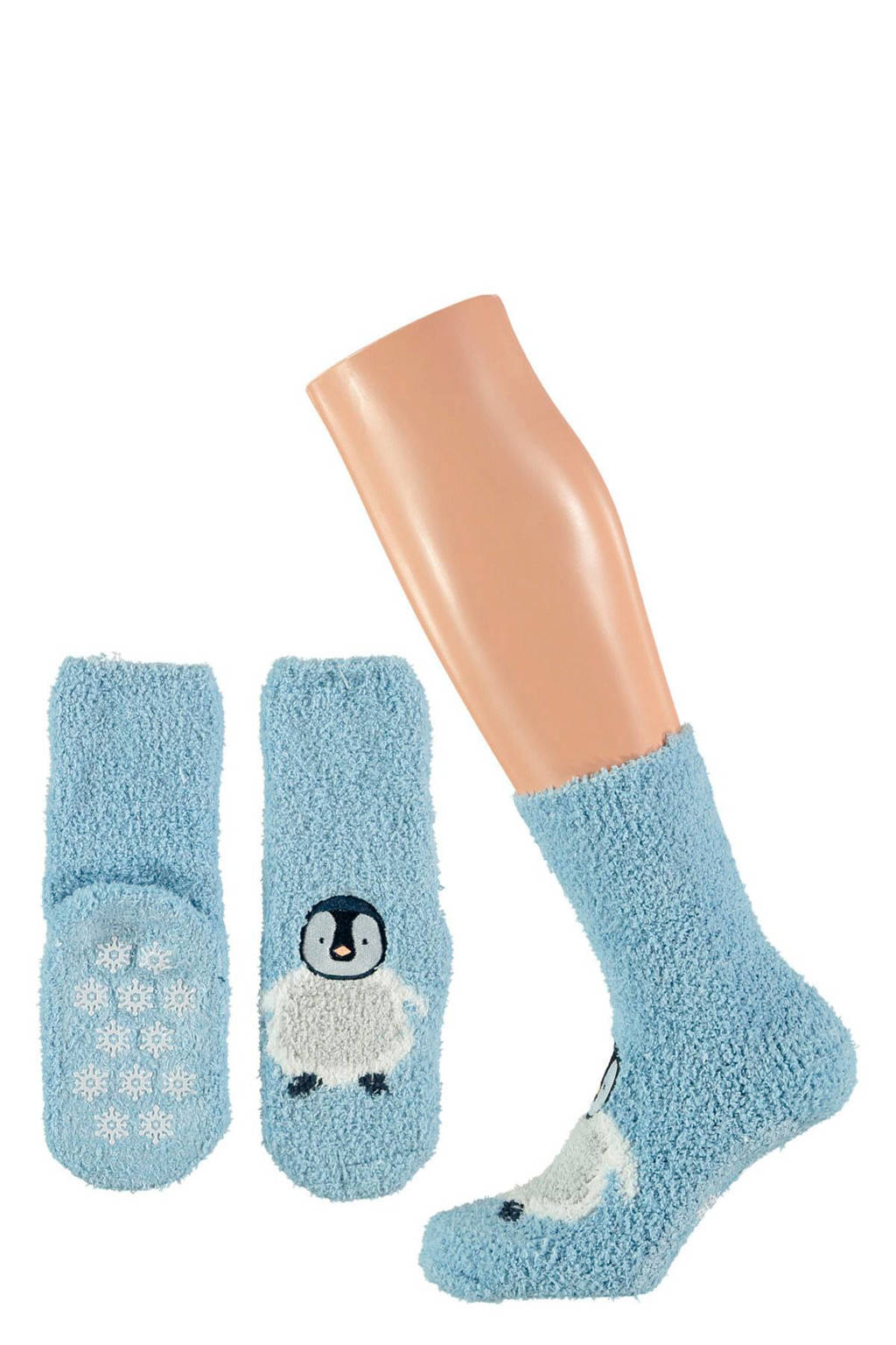 Apollo giftbox sokken kerst kids blauw, Pinguin
