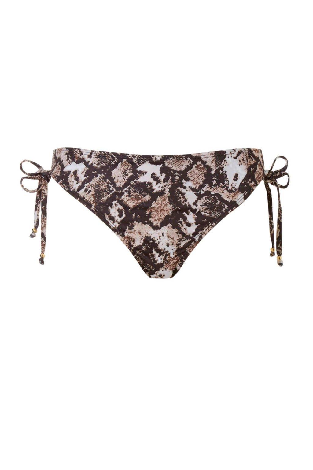 whkmp's beachwave bikinibroekje in een all over print zwart, Zwart/bruin