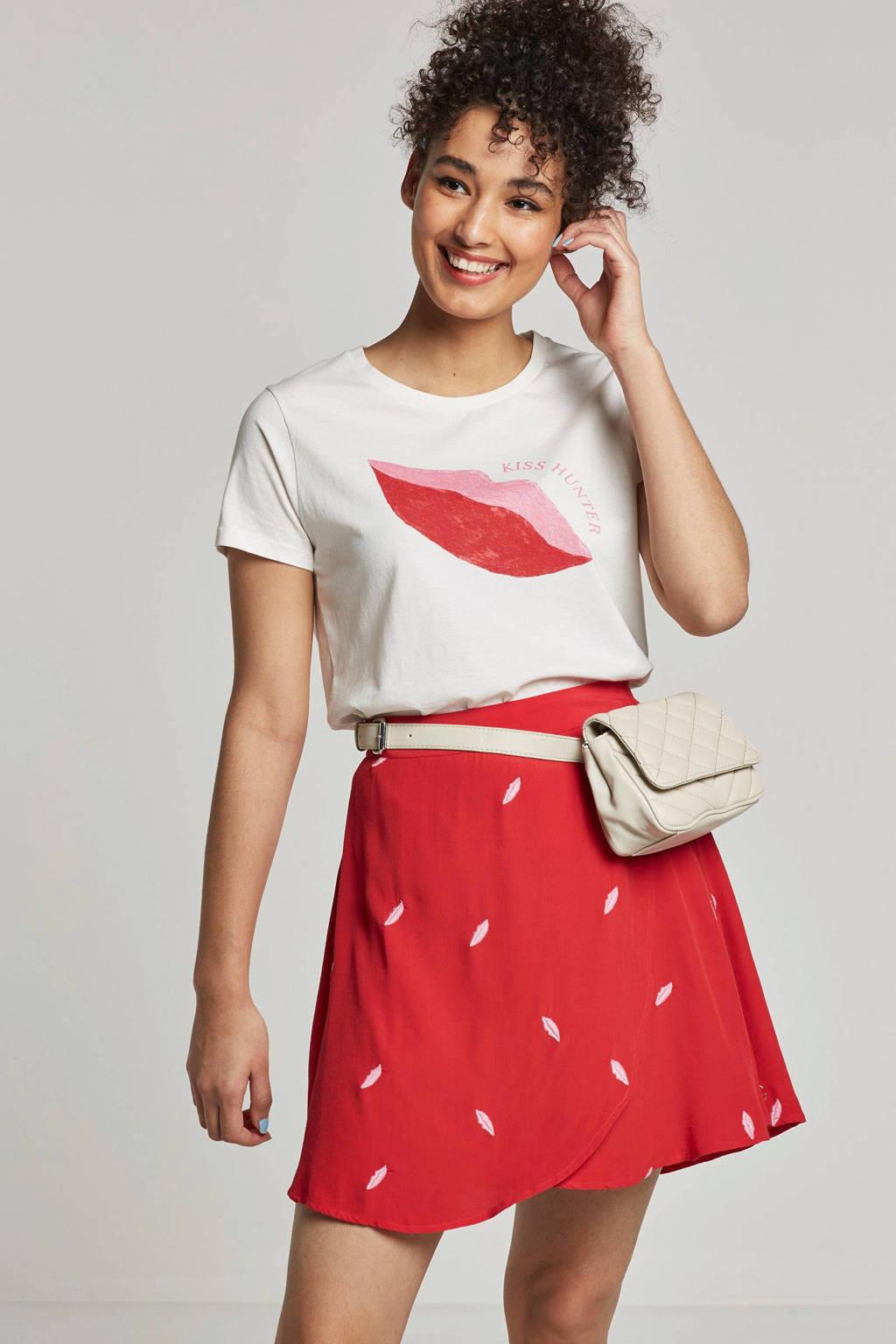 Fabienne Chapot T-shirt met opdruk wit, Wit/rood/roze
