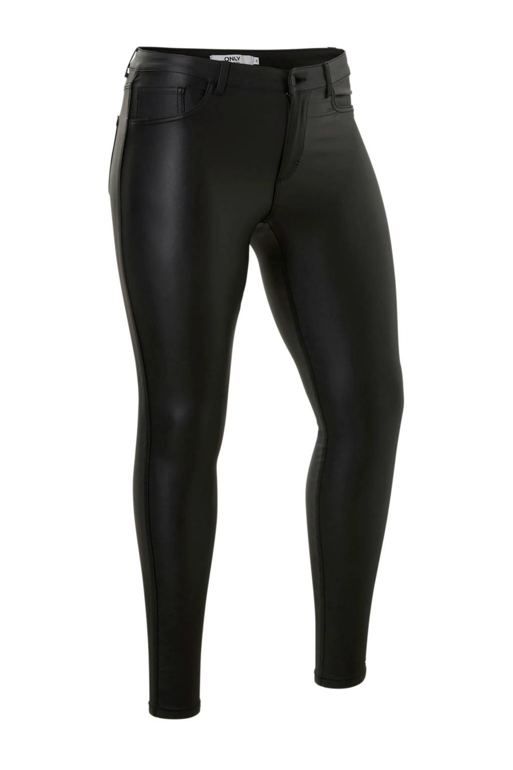 ONLY CARMAKOMA coated skinny jeans zwart, Zwart