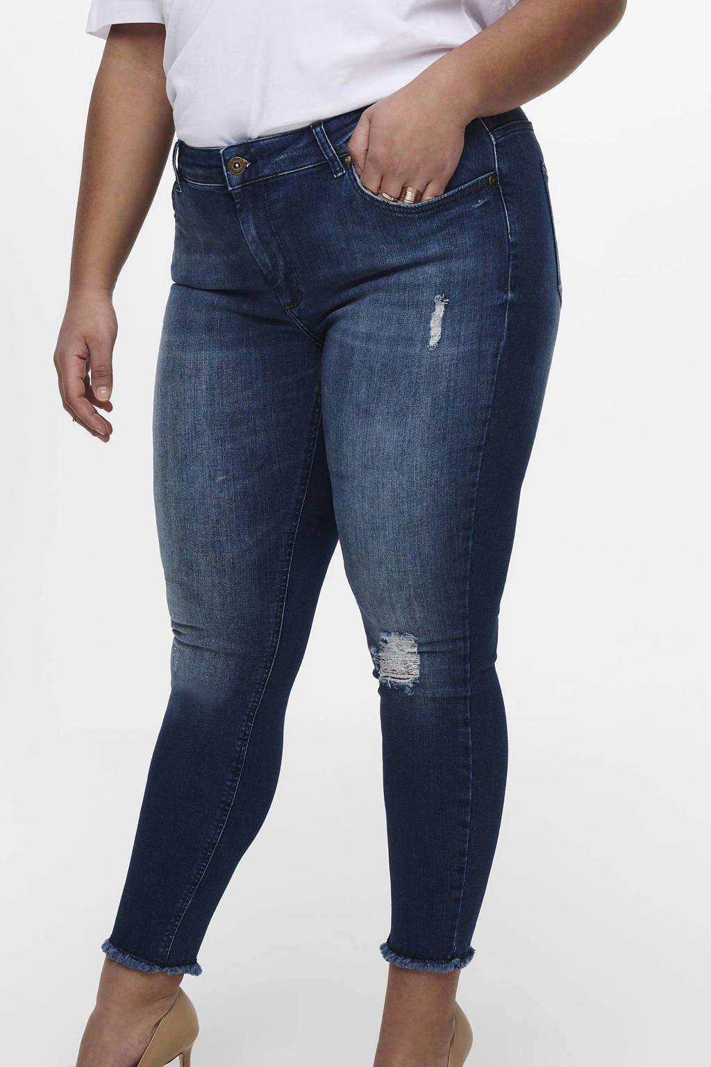 ONLY CARMAKOMA jeans met slijtage details, Blauw denim