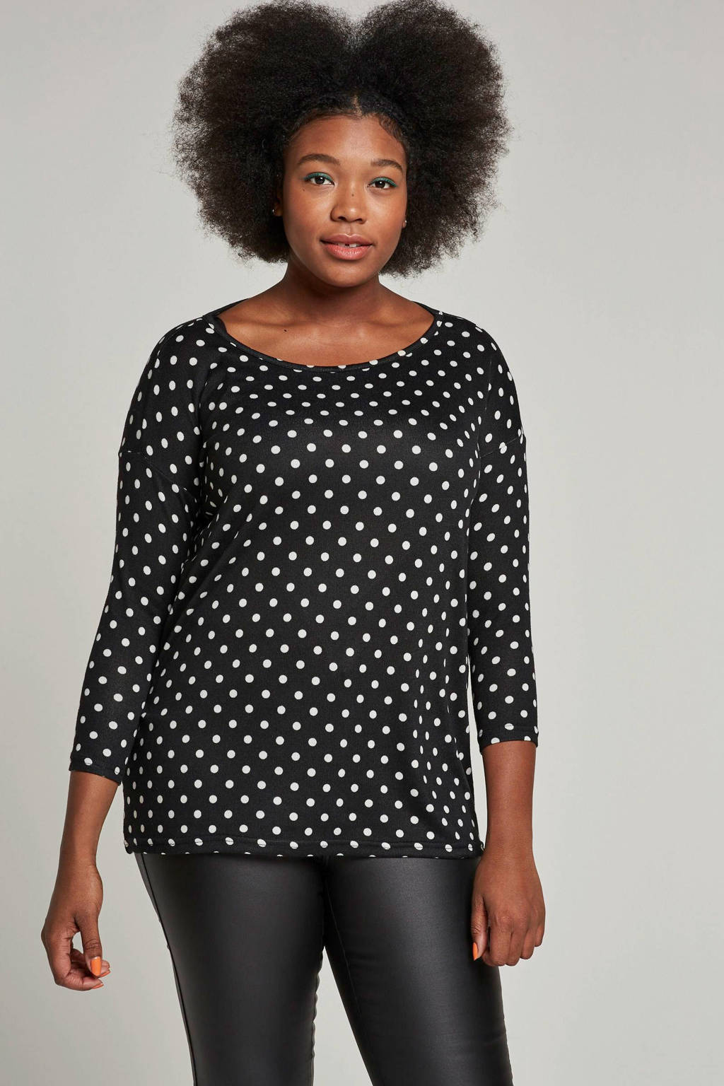 ONLY carmakoma top met stipdessin, Zwart/wit