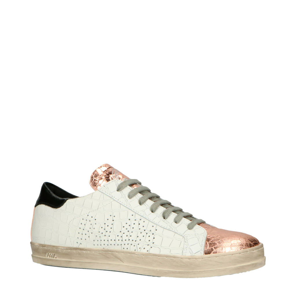 P448   CE9 John leren sneakers wit/rosé, Wit/Rosé/Zwart