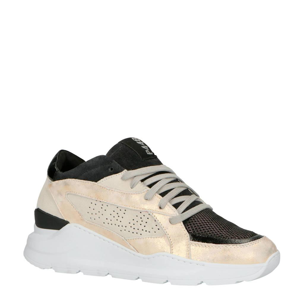 P448  Leia suède dad sneakers zwart/goud, Goud/zwart/beige