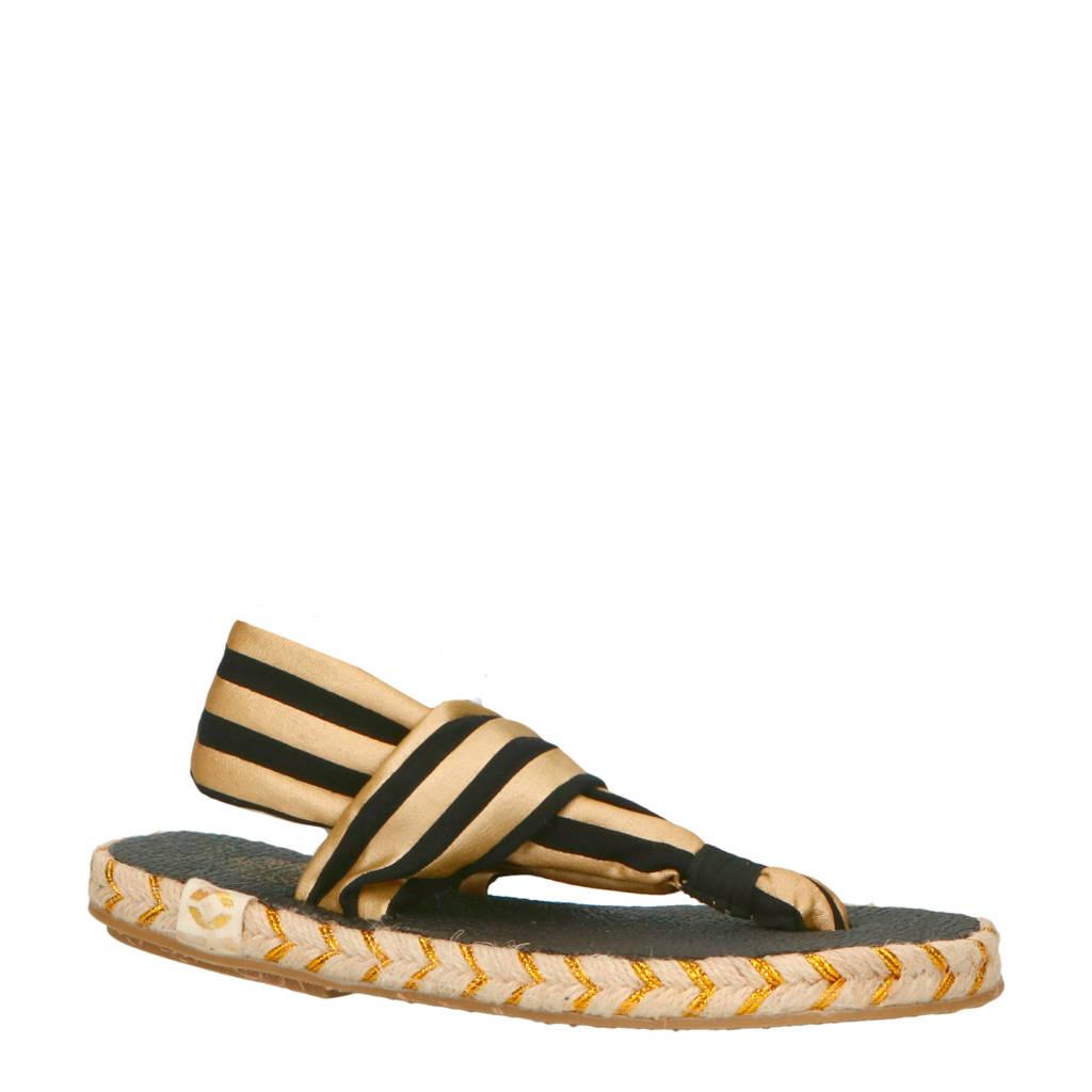 Nalho Ganika Metallic espadrilles sandalen zwart/goud, Goud/zwart