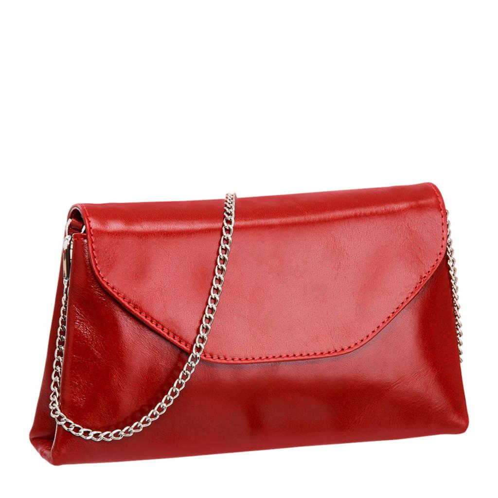4faf1b177f5 5th Avenue vanHaren 5th Avenue leren enveloppe tas rood   wehkamp