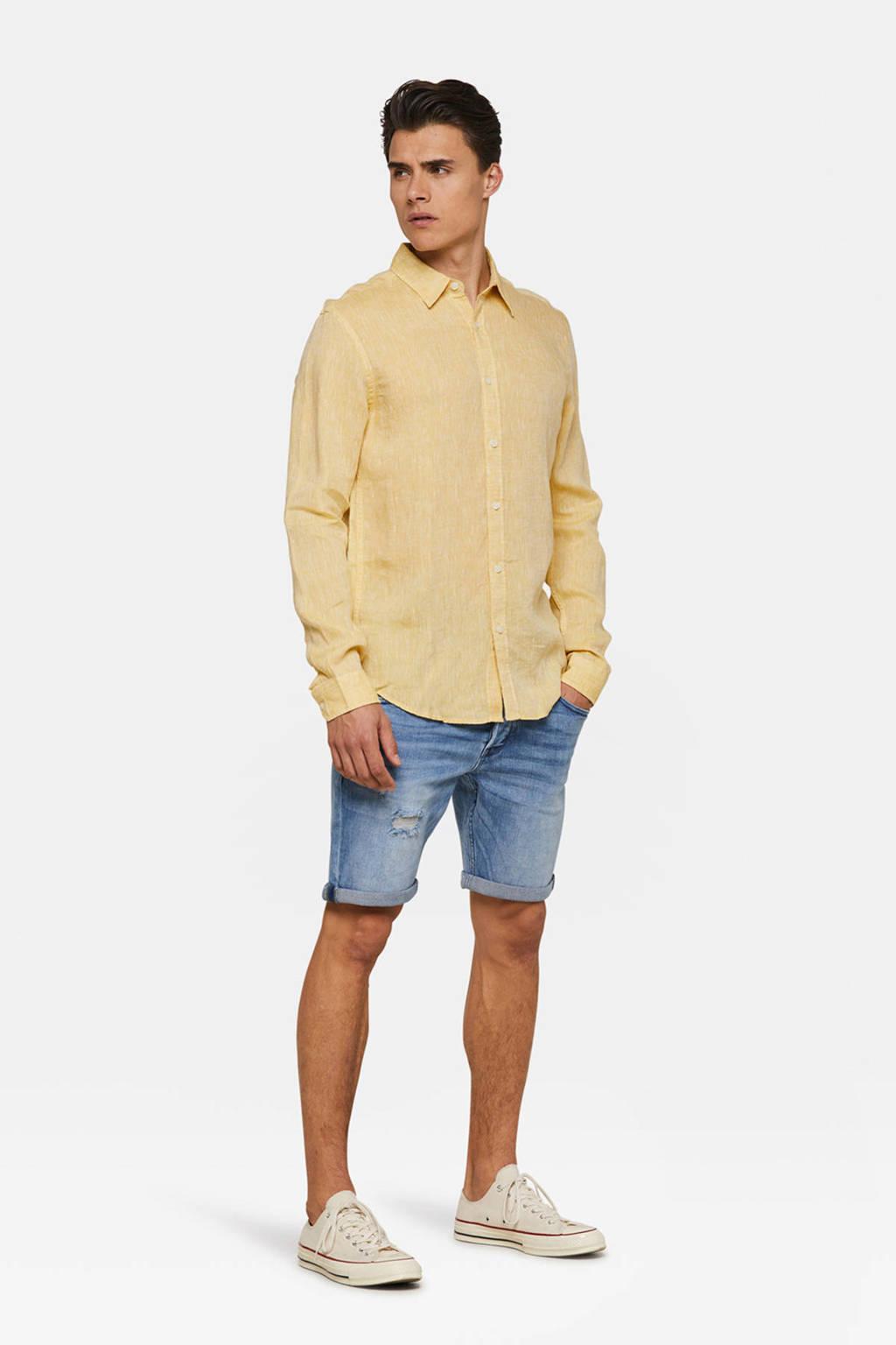 WE Fashion linnen slim fit overhemd geel, Geel