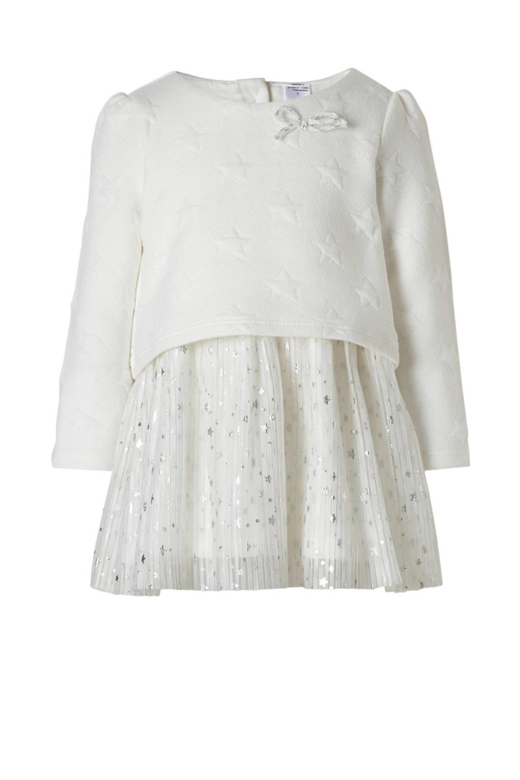 C&A Baby Club jurk met plissérok wit, Gebroken wit/zilver