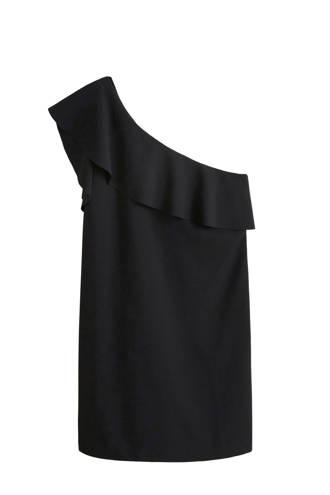 one shoulder jurk met ruche zwart