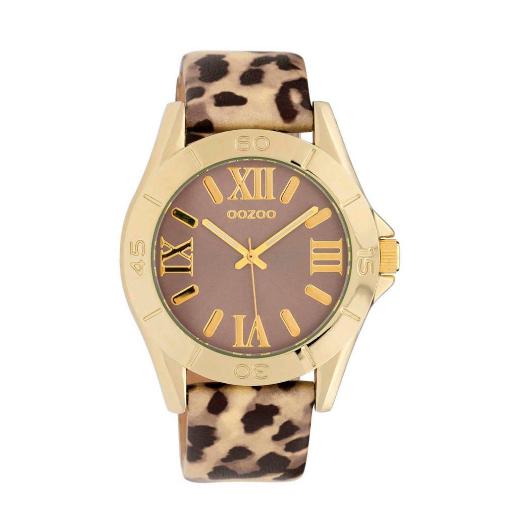 OOZOO leren horloge C9784 met panterprint goud, Goud