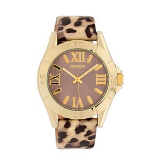 leren horloge C9784 met panterprint goud
