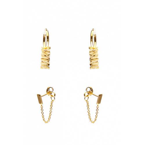 Karma Earparty 925 Sterling Zilveren Goudkleurige Woodprind and Rectangle oorbellen kopen