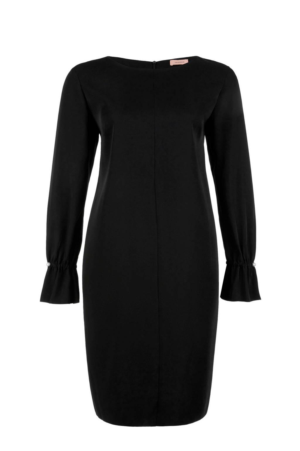 TRIANGLE jurk met volants zwart, Zwart